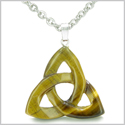 Celtic Triquetra Knot Magic Amulet Tiger Eye Evil Eye Protection Powers Gemstone Pendant on 22� Stainless Steel Necklace