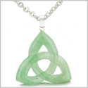 Celtic Triquetra Knot Magic Amulet Green Aventurine Good Luck Powers Gemstone Pendant on 18� Stainless Steel Necklace