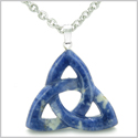 Celtic Triquetra Knot Magic Amulet Sodalite Good Luck Powers Gemstone Pendant on 22� Stainless Steel Necklace