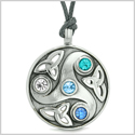 Goddess Celtic Triquetra Knot Protection Amulet Circle White Royal Sky Blue Crystals Adjustable Necklace