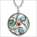 Goddess Celtic Triquetra Knot Protection Amulet Circle Red Green Blue Crystals Pendant 18 Inch Necklace