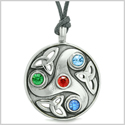 Goddess Celtic Triquetra Knot Protection Amulet Circle Red Green Blue Crystal Pendant Adjustable Necklace