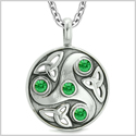Goddess Celtic Triquetra Knot Protection Amulet Circle Royal Green Crystals Pendant 18 Inch Necklace