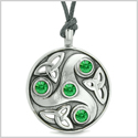 Goddess Celtic Triquetra Knot Protection Amulet Circle Royal Green Crystals Pendant Adjustable Necklace