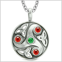 Goddess Celtic Triquetra Knot Protection Amulet Circle Royal Green Red Crystals Pendant 18 Inch Necklace