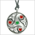 Goddess Celtic Triquetra Knot Protection Amulet Circle Green and Red Crystals Pendant Adjustable Necklace