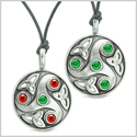 Goddess Celtic Triquetra Amulets Love Couples or Best Friends Set Royal Red Green Adjustable Necklaces