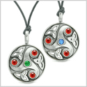 Goddess Celtic Triquetra Amulets Love Couples or Best Friends Set Red Blue Green Adjustable Necklaces