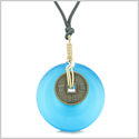 Lucky Coin Donut Gold-Tone Good Luck Powers Fortune Amulet Sky Blue Simulated Cats Eye Necklace