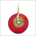 Lucky Coin Donut Sea Glass Gold-Tone Positive Energy Fortune Amulet Royal Red Unique Pendant