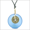 Lucky Coin Donut Sea Glass Gold-Tone Positive Energy Fortune Amulet Cloud Blue Unique Necklace
