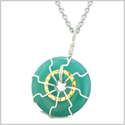 Positive Energy Sun Eternity Circle Gold-Silver-Tone Green Quartz Donut Amulet 22 Inch Necklace