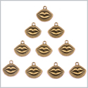 20 Pieces Happy Kiss Magic Lips Lucky Charms Findings for Jewelry Pendants Necklace Making 18mm X 19mm