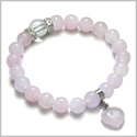 Amulet Love Powers Swarovski Crystals and Rose Quartz Gemstones Healing Heart Lucky Charm Bracelet