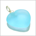 10 Pieces Sea Glass Beads Sky Blue Lucky Heart Charms Wholesale Components DIY Jewelry Making Arts