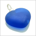 10 Pieces Sea Glass Beads Ocean Blue Lucky Heart Charms Wholesale Components DIY Jewelry Making Arts