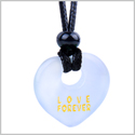 Magic Inspirational Lucky Heart Donut Charm Love Forever Powers White Simulated Cats Eye Necklace