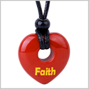 Magic Inspirational Lucky Heart Donut Charm Faith and Love Powers Red Jasper Necklace