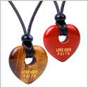 Inspirational Heart Donut Amulets Love Hope Faith Powers Couples BFF Tiger Eye Red Jasper Necklaces