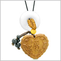 Fortune Heart Magic Car Charm or Home Decor White Quartz Lucky Coin Donut Protection Powers Amulet