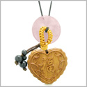 Fortune Heart Magic Car Charm or Home Decor Rose Quartz Lucky Coin Donut Protection Powers Amulet