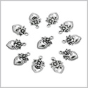 20 Pieces Hearts and Flowers Love Powers Lucky Charms Findings Jewelry Pendants Necklace Making 18 X 12mm