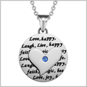 Adorable Heart Inspirational Medallion Live Love Laugh Faith Amulet Royal Blue Crystal 18 Inch Necklace