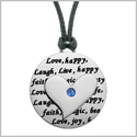 Adorable Heart Inspirational Medallion Live Love Laugh Faith Amulet Royal Blue Crystal Cord Necklace