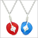 Twisted Twincies Heart Small Sea Glass Lucky Charm Love Couples BFF Set Ocean Blue Cherry Red Necklaces