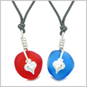 Twisted Twincies Heart Small Sea Glass Lucky Charm Love Couples BFF Set Cherry Red Ocean Blue Necklaces