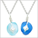 Twisted Twincies Heart Small Sea Glass Lucky Charm Love Couples BFF Set Ocean and Sky Blue Necklaces