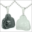 Double Lucky Happy Buddhas Love Couples or Best Friends Set Amulets Positive Energy Black Onyx White Jade Gemstones Necklaces