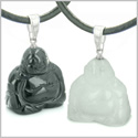 Double Lucky Happy Buddhas Love Couples or Best Friends Set Amulets Magic Energy Black Onyx White Jade Gemstones Necklaces