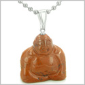Good Luck Charm Happy Sitting Buddha Amulet Red Jasper Gemstone Believe Powers Pendant on 22� Stainless Steel Necklace