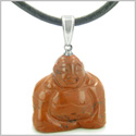 Good Luck Charm Happy Sitting Buddha Amulet Red Jasper Gemstone Believe Powers Pendant on Leather Cord Necklace