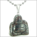 Good Luck Charm Happy Sitting Buddha Amulet Tiger Iron Gemstone Protection Powers Pendant on 22� Stainless Steel Necklace