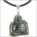 Good Luck Charm Happy Sitting Buddha Amulet Tiger Iron Gemstone Protection Powers Pendant on Leather Cord Necklace