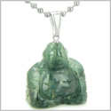 Good Luck Charm Happy Sitting Buddha Amulet Green Agate Gemstone Magic Powers Pendant on 18� Stainless Steel Necklace