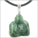 Good Luck Charm Happy Sitting Buddha Amulet Green Agate Gemstone Magic Powers Pendant on Leather Cord Necklace