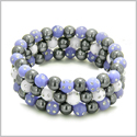 Amulets Set of 3 Individual Simulated Hematite Magnetic Bracelets in Purple and White Sparkling Beads Crystals