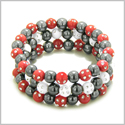 Amulets Set of 3 Individual Simulated Hematite Magnetic Bracelets in Red and White Sparkling Beads Crystals