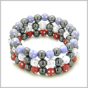 Amulets Set of 3 Individual Simulated Hematite Magnetic Bracelets in Red, Purple and White Sparkling Beads Crystals