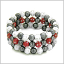 Amulets Set of 3 Individual Simulated Hematite Magnetic Bracelets in White and Red Sparkling Beads Crystals
