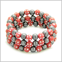 Amulets Set of 3 Individual Simulated Hematite Magnetic Bracelets in Red Sparkling Beads Crystals