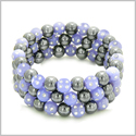Amulets Set of 3 Individual Simulated Hematite Magnetic Bracelets in Purple Sparkling Beads Crystals