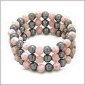 Amulets Set of 3 Individual Simulated Hematite Magnetic Bracelets in Baby-Pink Sparkling Beads Crystals