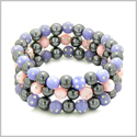 Amulets Set of 3 Individual Simulated Hematite Magnetic Bracelets in Purple and Baby-Pink Sparkling Beads Crystals