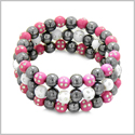 Amulets Set of 3 Individual Simulated Hematite Magnetic Bracelets in White and Hot Pink Sparkling Beads Crystals
