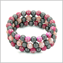 Amulets Set of 3 Individual Simulated Hematite Magnetic Bracelets in Baby-Pink and Hot Pink Sparkling Beads Crystals