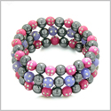 Amulets Set of 3 Individual Simulated Hematite Magnetic Bracelets in Purple and Hot Pink Sparkling Beads Crystals